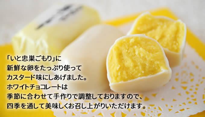 「いと忠巣ごもり」に 新鮮な卵をたっぷり使って カスタード味にしあげました。 ホワイトチョコレートは 季節に合わせて手作りで調整しておりますので、 四季を通して美味しくお召し上がりいただけます。