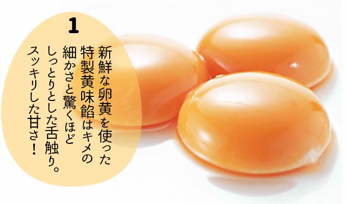 新鮮な卵黄を使った 特製黄味餡はキメの 細かさと驚くほど しっとりとした舌触り。 スッキリした甘さ!